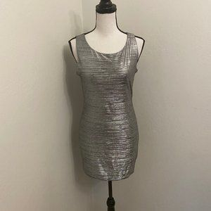Forever 21 Silver Metallic Stretch Bodycon Dress